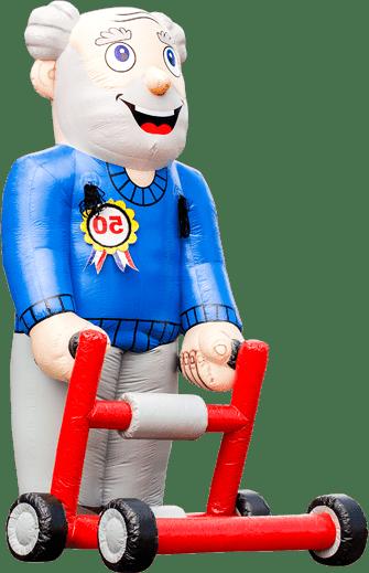Opblaasbare Abraham pop met rollator