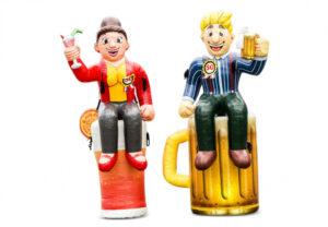 Opblaasbare Sarah pop op cocktailglas en Abraham pop op bierglas